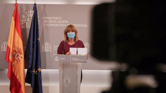 La ministra de Educación y Formación Profesional, Pilar Alegría, comparece en rueda de prensa, tras presidir la Conferencia Sectorial de Educación ante el inicio del próximo curso 2021-2022, en la sede ministerial este miércoles 25 de agosto en Madrid