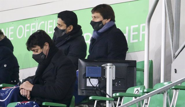 Archivo - President of PSG Nasser Al Khelaifi, Sporting Director of PSG Leonardo Araujo attend the French championship Ligue 1 football match between AS Saint-Etienne (ASSE) and Paris Saint-Germain (PSG) on January 6, 2021 at stade Geoffroy Guichard in Sa