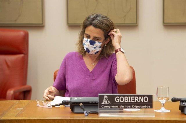 Archivo - La vicepresidenta cuarta del Gobierno y ministra de Transición Ecológica y Reto Demográfico, Teresa Ribera, comparece en la Comisión de Transición Ecológica y Reto Demográfico del Congreso