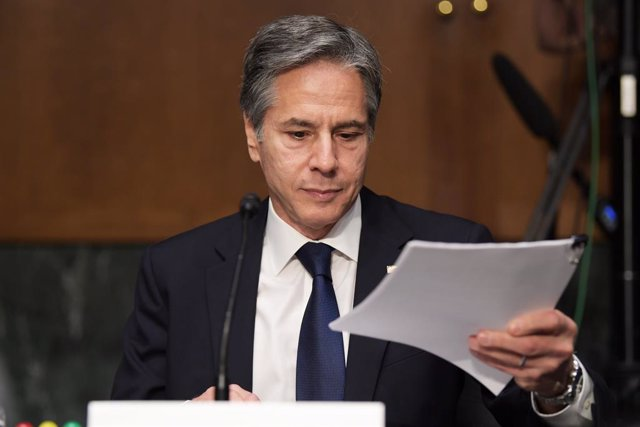 Archivo - 08 June 2021, US, Washington: US Secretary of State Antony Blinken attends a hearing on the State Departments fiscal year 2022 budget request at Dirksen Senate Office on Capitol Hill. Photo: Lenin Nolly/ZUMA Wire/dpa