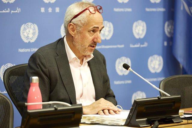 03 August 2021, US, New York: The Spokesperson for the UN Secretary-General Stephane Dujarric speaks during a press conference. Photo: Mark J. Sullivan/ZUMA Press Wire/dpa