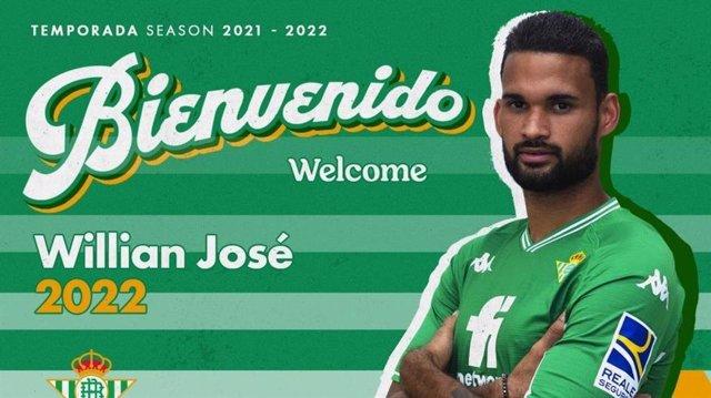 El delantero brasileño Willian José jugará cedido en el Real Betis en la temporada 2021/22