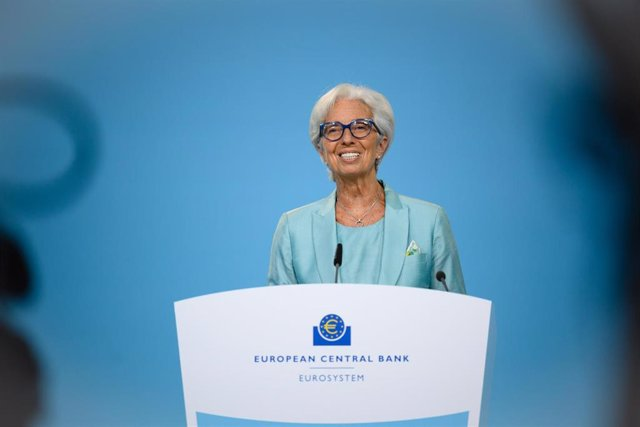 Archivo - HANDOUT - 22 July 2021, Frankfurt: European Central Bank (ECB) President Christine Lagarde speaks during the ECB Governing Council Press Conference. Photo: Sanziana Perju/European Central Bank/dpa - ATTENTION: editorial use only and only if the