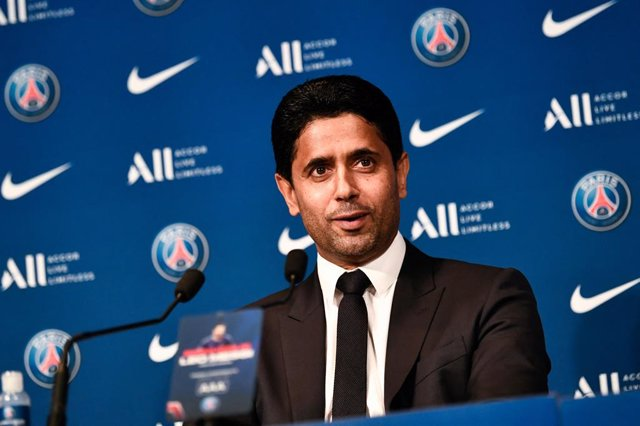 11 August 2021, France, Paris: Paris Saint-Germain's Qatari President Nasser Al-Khelaifi speaks during a press conference for the unveiling of Argentinian football player Lionel Messi (not pictured) at the French football club Paris Saint-Germain's (PSG)
