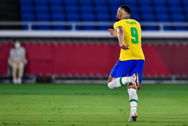 Matheus Cunha of Brazil celebrates after scoring his sides first goal during the Olympic Games Tokyo 2020, Football Men's Gold Medal Match between Brazil and Spain on August 7, 2021 at International Stadium Yokohama in Yokohama, Japan - Photo Pablo Morano