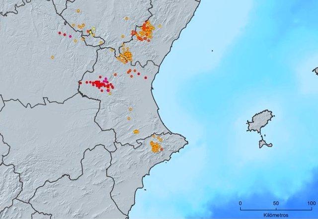 Imagen de las descargas procedentes de rayos registradas este jueves en la Comunitat Valenciana