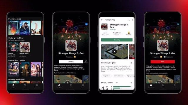 Videojuegos de Stranger Things dentro de Netflix, que ya se prueban en la app de Android de Netflix en Polonia.