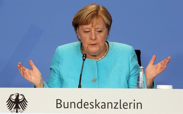 26 August 2021, Berlin: German Chancellor Angela Merkel answers questions from journalists about the current situation in Afghanistan at a press conference in the Federal Chancellery. Photo: Wolfgang Kumm/dpa-Pool/dpa