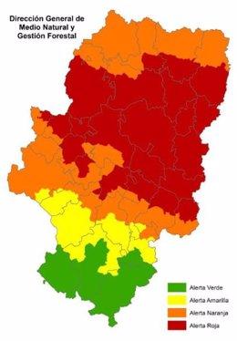 Alerta roja de peligro de incendios forestales en varias zonas de Aragón.