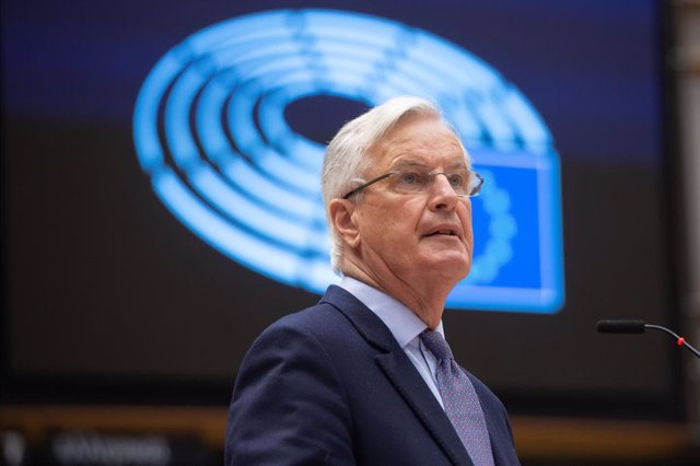 Archivo - HANDOUT - 27 April 2021, Belgium, Brussels: European Commission's Head of Task Force for Relations with the United Kingdom, Michel Barnier, delivers a speech during a debate on the EU-UK trade and cooperation agreement on the second day of a ple