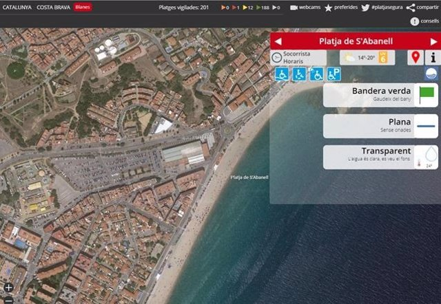 Mapa de la platja de Blanes (Girona)