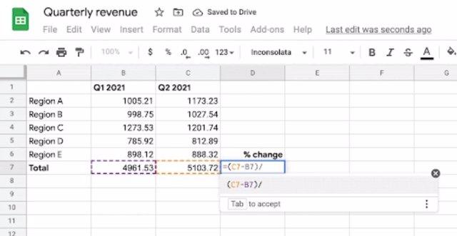 Sugerencias inteligentes en las Hojas de cálculo de Google.
