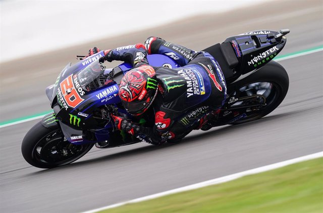 27 August 2021, United Kingdom, Silverstone: French motorcycle road racer Fabio Quartararo of Monster Energy Yamaha in action during the practice day of the British MotoGP at Silverstone Circuit. Photo: David Davies/PA Wire/dpa