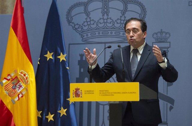 El ministro de Asuntos Exteriores, Unión Europea y Cooperación, José Manuel Albares, durante el acto por el que el nuevo subsecretario del Ministerio ha tomado posesión del cargo, a 29 de julio de 2021, en Madrid (España).