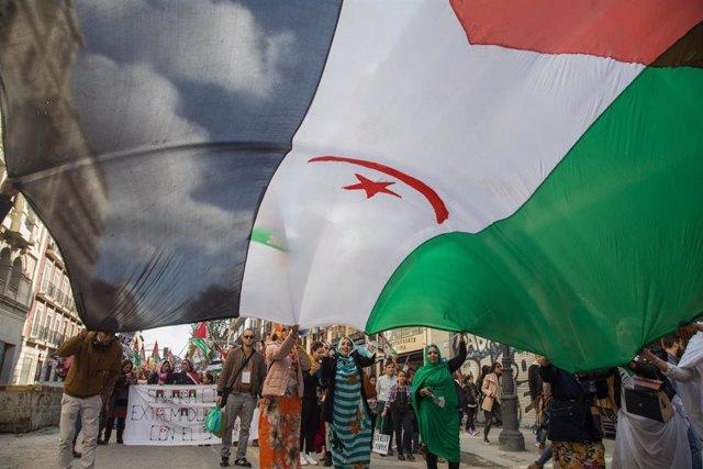 Archivo - Arxiu - Marxa en favor de l'autodeterminació del Sàhara Occidental.