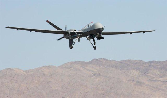 """Archivo - El Reaper, primer vehículo aéreo no tripulado (UAV) """"cazador-asesino"""" de la Fuerza Aérea de Estados Unidos"""