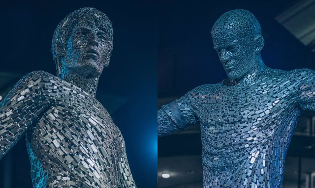 Estatuas de David Silva y Vincent Kompany en el Etihad Stadium del Manchester City