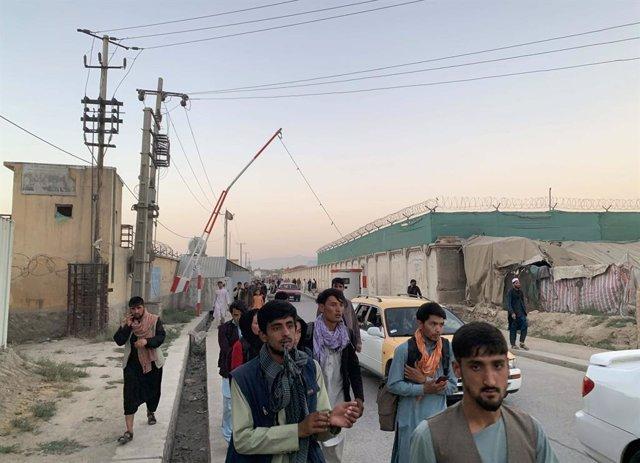 Evacuación en el aeropuerto de Kabul, Afganistán