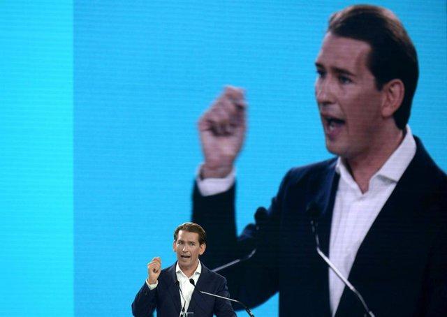 28 August 2021, Austria, St. Poelten: Austrian Chancellor Sebastian Kurz speaks during the 39th ordinary federal party congress of the Austrian People's Party (OeVP). Photo: Herbert Pfarrhofer/APA/dpa
