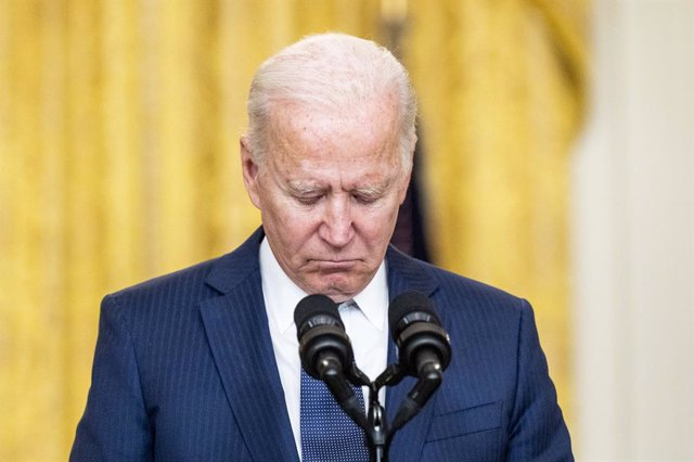 26 August 2021, US, Washington: US President Joe Biden observes a moment of silence for the victims in the terror attack at Hamid Karzai International Airport. Photo: Michael Brochstein/ZUMA Press Wire/dpa