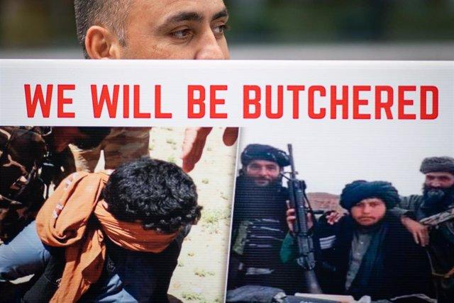 Protesta por los refugiados afganos en Londres