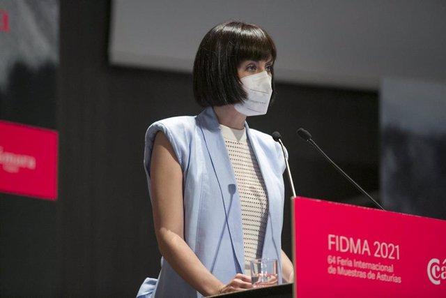 La ministra de Ciencia e Innovación, Diana Morant, durante la inauguración de la 64ª edición de la Feria Internacional de Muestras de Asturias (Fidma), el pasado 6 de agosto de 2021, en el Recinto Ferial Luis Adaro, en Gijón (Asturias)