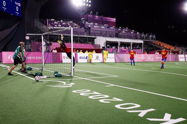 Momento del gol de Antonio Martín Gaitán en el España-Tailandia del fútbol-5 para ciegos de los Juegos Paralímpicos