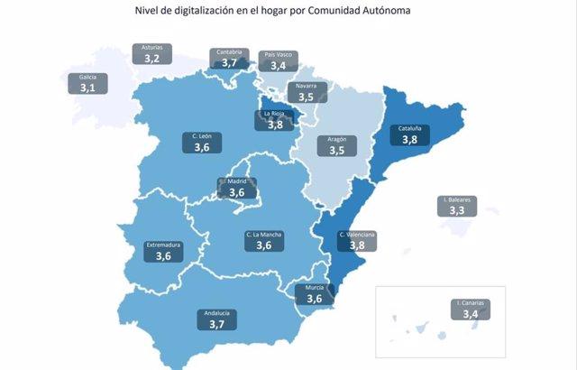 Viviendas digitalizadas en España por comunidades, según un estudio de Aedas Home.
