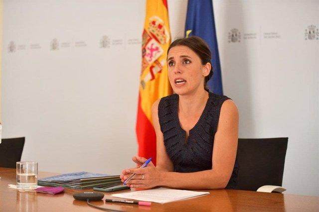 La ministra de Igualdad, Irene Montero, durante una reunión telemática