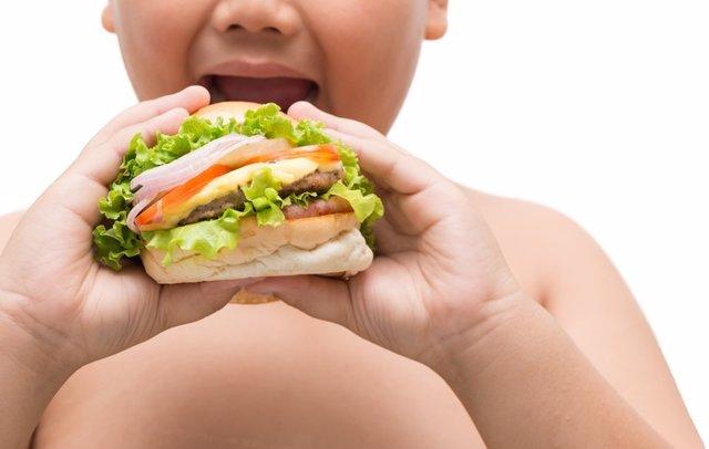 Archivo - Hamburger in obese fat boy hand
