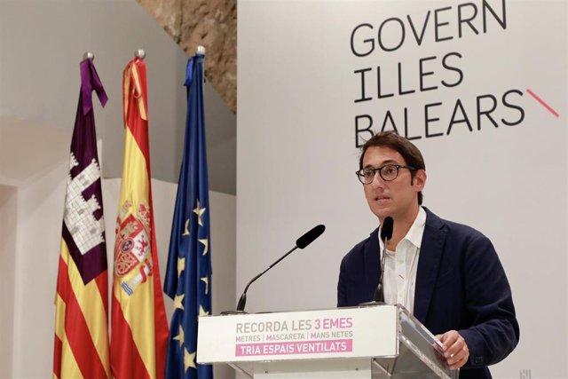 El conseller de Modelo Económico, Turismo y Trabajo, Iago Negueruela, tras el Consell de Govern de este lunes.