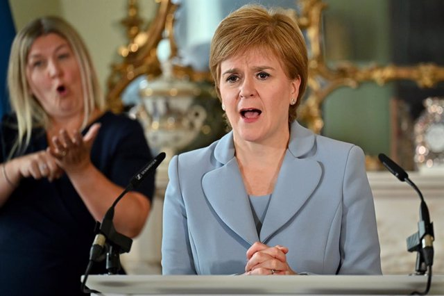 20 August 2021, United Kingdom, Edinburgh: Scottish First Minister Nicola Sturgeon speaks during a press conference with Green Party co-leaders Patrick Harvie and Lorna Slater at Bute House, following the signing of a cooperation agreement between her Sco