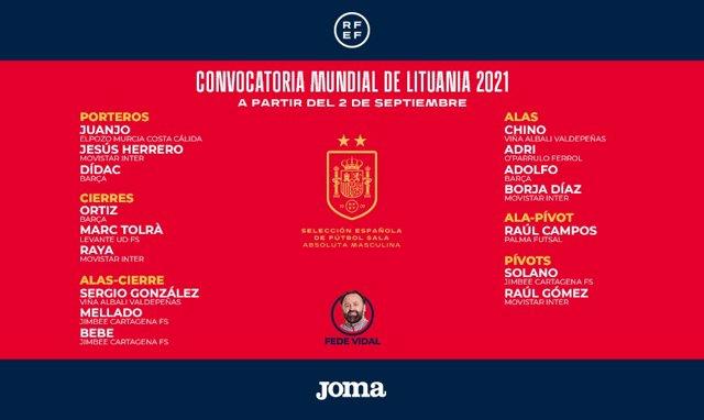Convocatoria de España para el Mundial