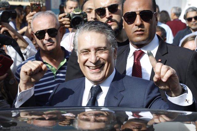 Archivo - El excandidato presidencial Nabil Karoui.