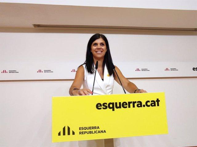 La secretària general adjunta i portaveu d'ERC, Marta Vilalta, en la roda de premsa