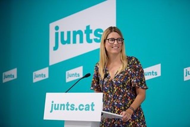 La vicepresidenta de Junts, Elsa Artadi, en la roda de premsa