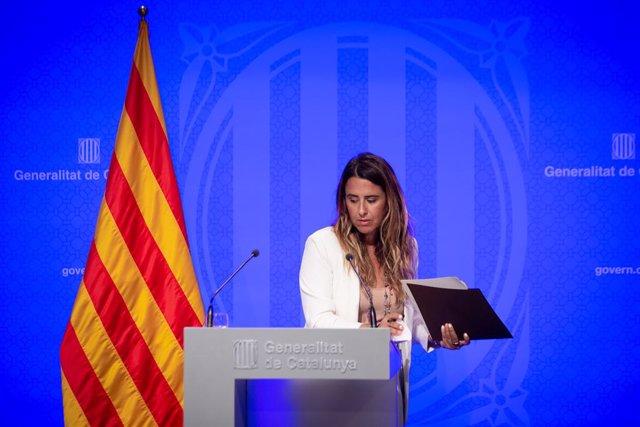 La portaveu del Govern, Patrícia Plaja, en la roda de premsa