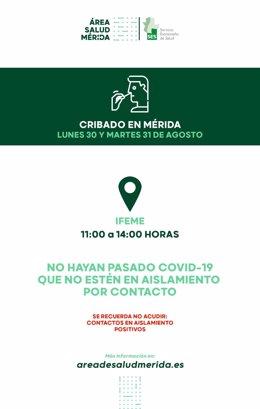 Imagen sobre el horario de cribado contra la Covid-19 en Ifeme de Mérida el lunes 30 y el martes 31 de agosto