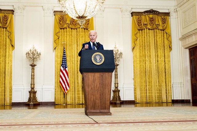 26 August 2021, US, Washington: US President Joe Biden speaks during a press conference in the White House East Room on the terror attack at Hamid Karzai International Airport, and the US service members and Afghan victims killed and wounded in the attack