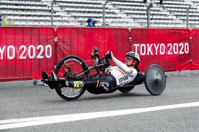 Sergio Garrote durante la prueba de contrarreloj H2 de los Juegos Paralímpicos de Tokio