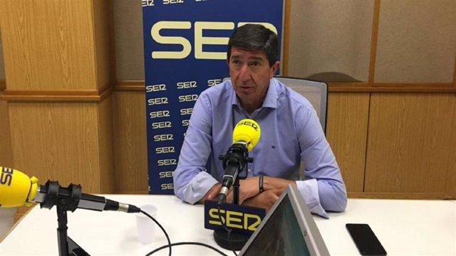 Imagen de la entrevista del vicepresidente de la Junta y coordinador autonómico de Cs, Juan Marín, en la Cadena Ser.