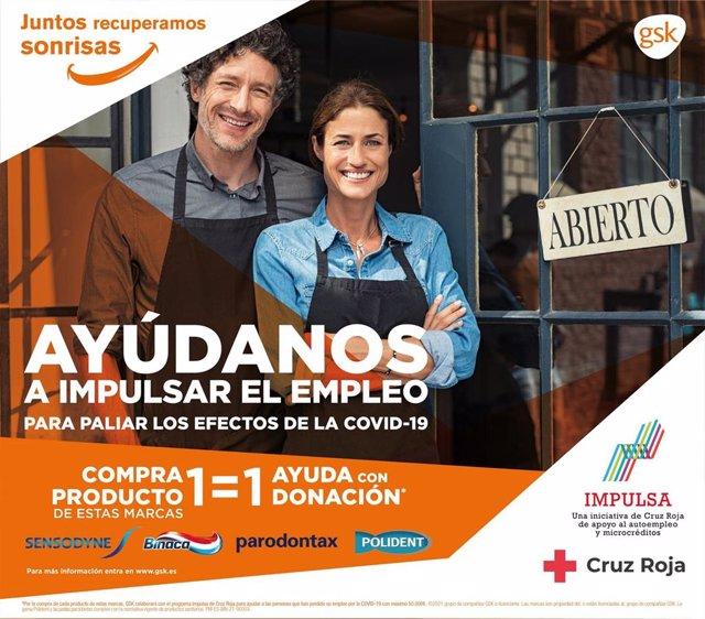 Sensodyne, parodontax, Binaca y Polident se unen a Cruz Roja Española y su Proyecto 'Impulsa' de apoyo al autoempleo frente a la Covid-19.