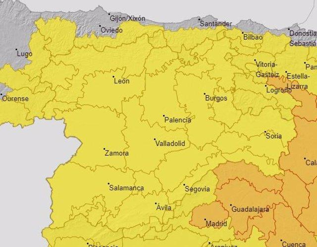 Avisos meteorológicos activos este miércoles en Castilla y León.