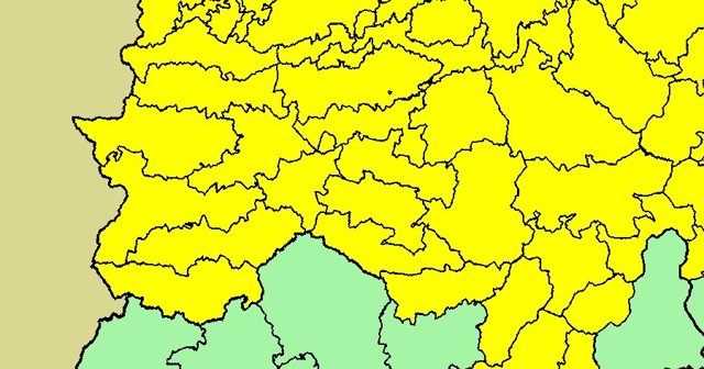 Alerta amarilla por lluvias y tormentas en Extremadura