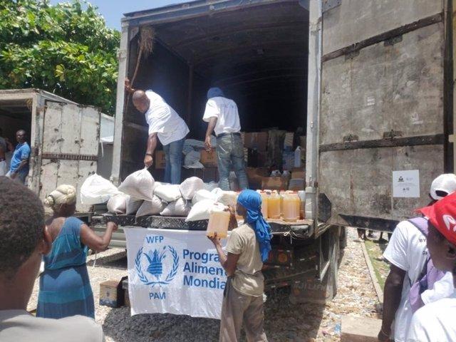 Ayuda humanitaria distribuida en Haití.