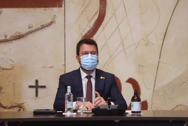 El presidente del Govern, Pere Aragonès, en el Consell Executiu del 31 de agosto.