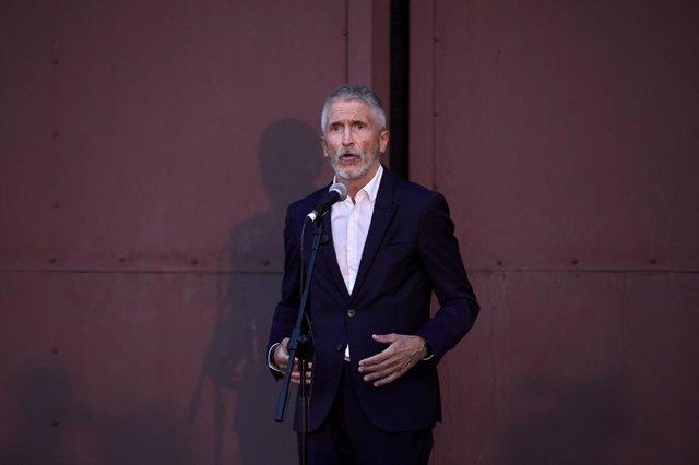 El ministro de Interior, Fernando Grande-Marlaska, en una intervención desde la base de Torrejón el pasado 24 de agosto