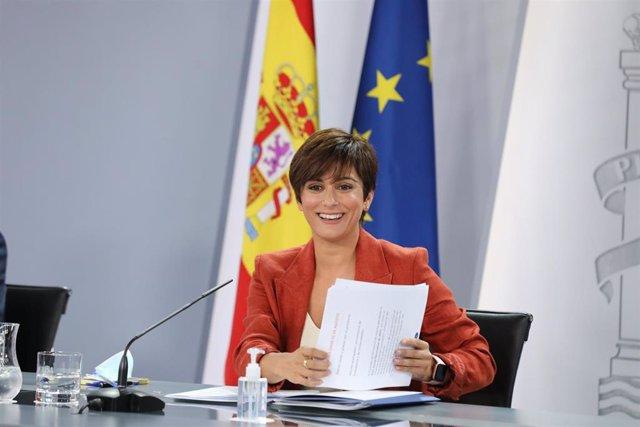 La ministra de Política Territorial y portavoz del Gobierno, Isabel Rodríguez García, en una rueda de prensa posterior al Consejo de Ministros, a 31 de agosto de 2021, en Madrid, (España). Durante la comparecencia han confirmado, entre otras cuestiones, q