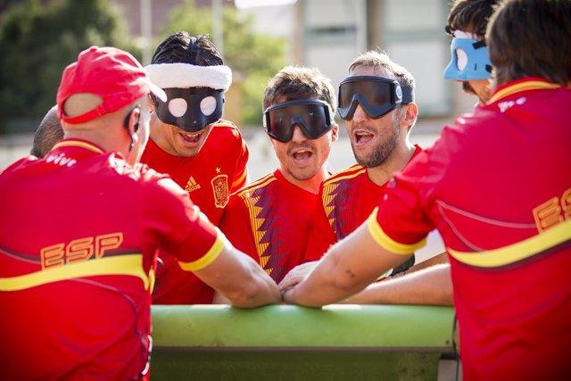 La selección española de Fútbol-5 para ciegos antes de un partido