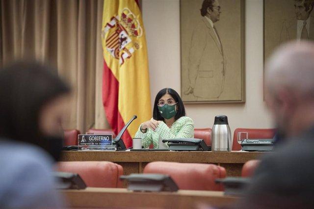 La ministra de Sanidad, Carolina Darias, comparece en una Comisión de Sanidad y Consumo en el Congreso de los Diputados, a 31 de agosto de 2021, en Madrid, (España). El objeto de esta comparecencia es informar sobre el estado actual de la evolución de la